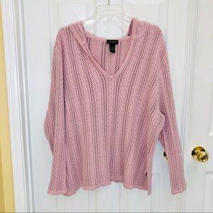 Lane Bryant pink chunky knit v neck sweater 22/24